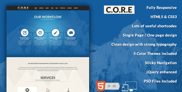 core one page responsive html5 template buddhathemes